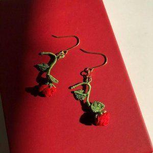 Handmade rose statement earrings